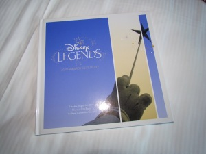 A hardbound book of the program guide for the Disney Legends induction (to be held Saturday)