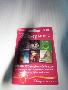 A $15 gift card for the Disney Music store