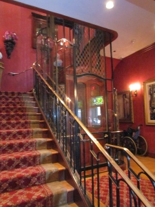 Stairs or an old-fashioned lift provide access to the dining areas upstairs